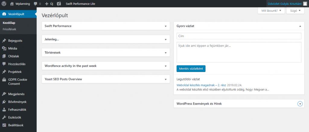 Wordpress admin főoldal