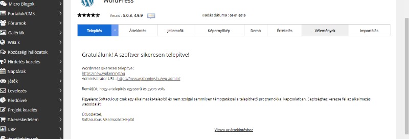 Wordpress telepítés Cpanel 2