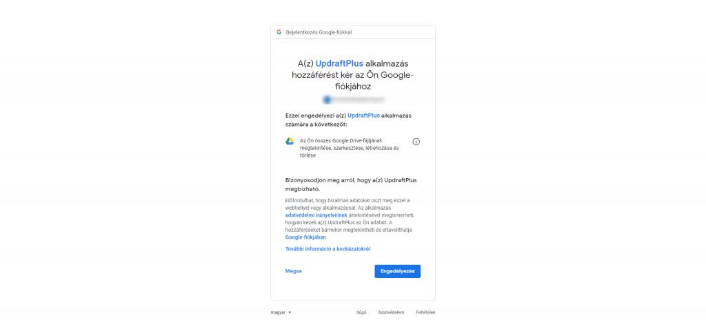 Updraftplus weboldal biztonsági mentés