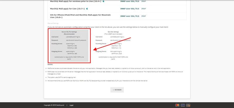 Email SMTP adatok