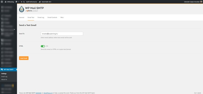 Wp Mail SMTP teszt email